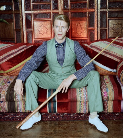 RF - David Bowie in a sage-green suit with the bow tie and plaid shirt combination.